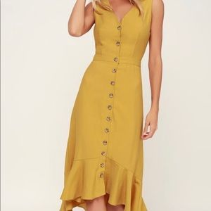 Mustard button front midi dress - never worn!